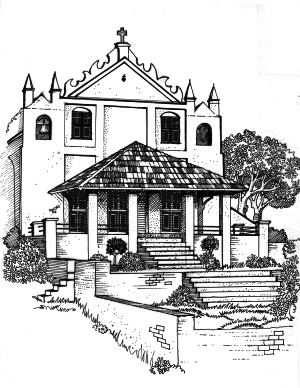 Artist's rendition of the Chapel of St. Anne in 1896